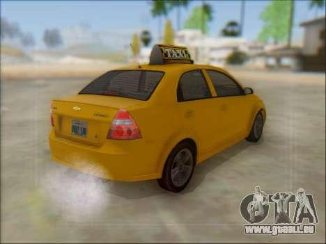 Chevrolet Aveo Taxi für GTA San Andreas Seitenansicht