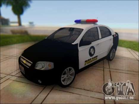 Chevrolet Aveo Police pour GTA San Andreas vue de dessus