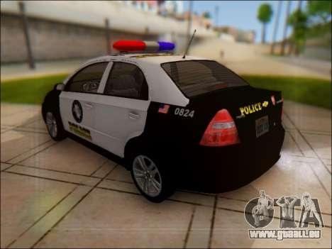 Chevrolet Aveo Police pour GTA San Andreas sur la vue arrière gauche