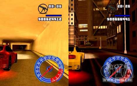 Compteur De Vitesse Concept StyleV4x3 pour GTA San Andreas troisième écran