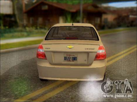 Chevrolet Aveo 2007 pour GTA San Andreas sur la vue arrière gauche
