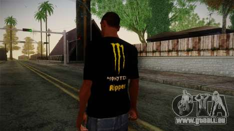 Monster Ripper Shirt Black für GTA San Andreas zweiten Screenshot