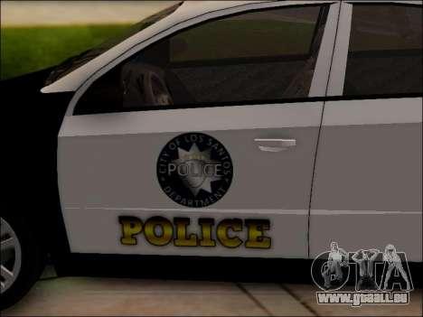 Chevrolet Aveo Police pour GTA San Andreas vue de dessous