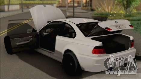 BMW M3 E46 Black Edition pour GTA San Andreas vue de droite