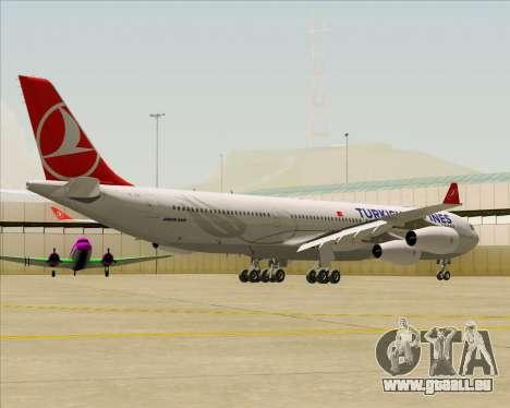 Airbus A340-313 Turkish Airlines für GTA San Andreas zurück linke Ansicht