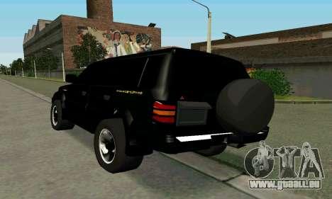 Mitsubishi Pajero Intercooler Turbo 2800 pour GTA San Andreas sur la vue arrière gauche