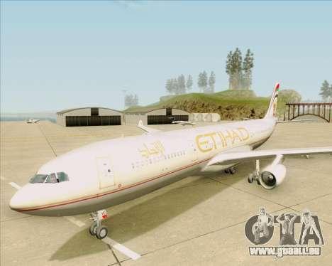 Airbus A340-313 Etihad Airways für GTA San Andreas obere Ansicht