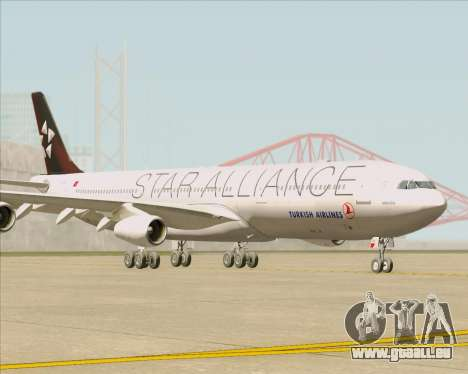 Airbus A340-311 Turkish Airlines (Star Alliance) pour GTA San Andreas laissé vue