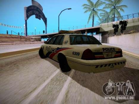 Ford Crown Victoria Toronto Police Service für GTA San Andreas zurück linke Ansicht