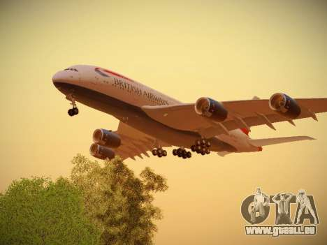 Airbus A380-800 British Airways pour GTA San Andreas vue de droite