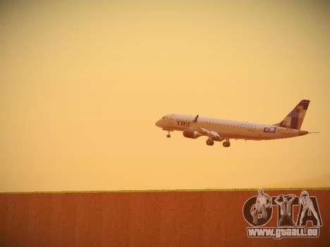 Embraer E190 TRIP Linhas Aereas Brasileira für GTA San Andreas Rückansicht