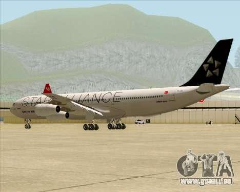Airbus A340-311 Turkish Airlines (Star Alliance) pour GTA San Andreas sur la vue arrière gauche