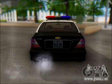 Chevrolet Evanda Police pour GTA San Andreas vue de droite