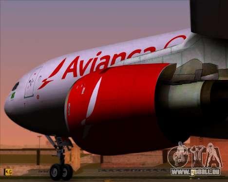 Airbus A330-243F Avianca Cargo für GTA San Andreas Rückansicht