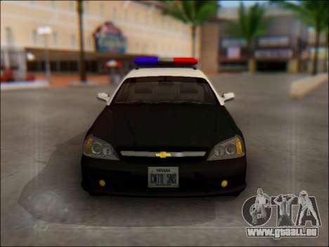 Chevrolet Evanda Police pour GTA San Andreas vue de dessus