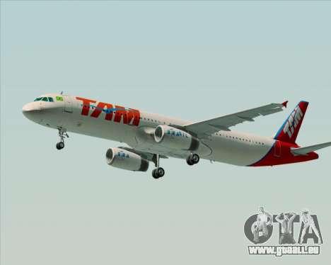 Airbus A321-200 TAM Airlines pour GTA San Andreas vue arrière