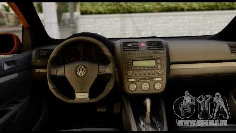 Volkswagen Golf V GTI pour GTA San Andreas sur la vue arrière gauche