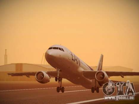 Airbus A320-214 LAN Airlines 100th Plane für GTA San Andreas Rückansicht