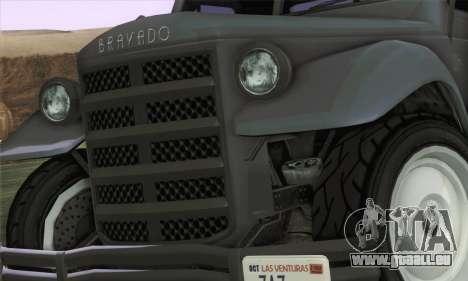 Bravado Duneloader Classic 1.0 (HQLM) pour GTA San Andreas sur la vue arrière gauche