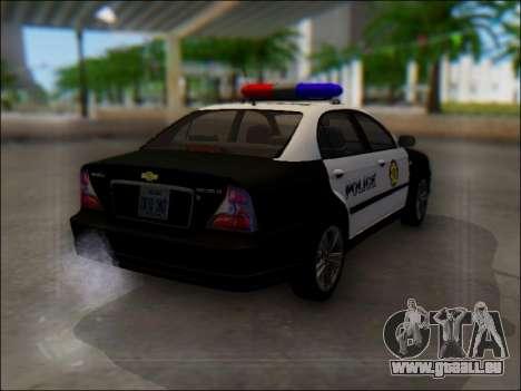 Chevrolet Evanda Police pour GTA San Andreas vue arrière