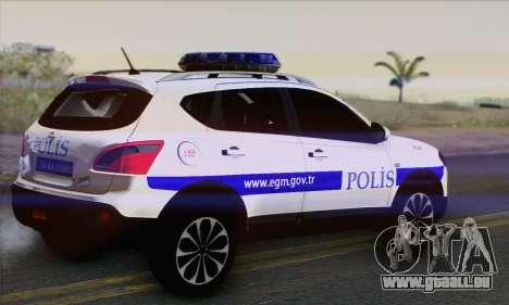 Nissan Qashqai TR POLICE pour GTA San Andreas laissé vue