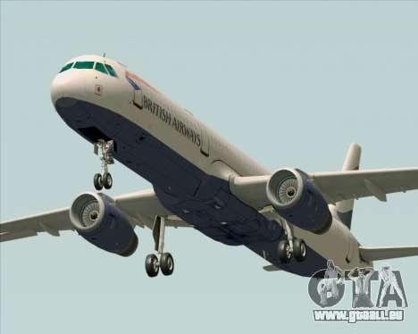 Airbus A321-200 British Airways für GTA San Andreas zurück linke Ansicht