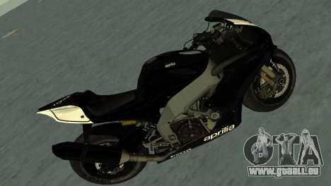 Aprilia RSV4 2009 Black Edition pour GTA Vice City sur la vue arrière gauche