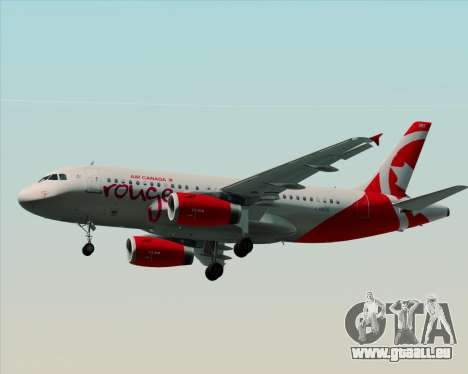Airbus A319 Air Canada Rouge für GTA San Andreas zurück linke Ansicht
