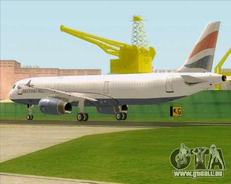 Airbus A321-200 British Airways pour GTA San Andreas vue de droite