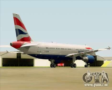 Airbus A320-232 British Airways pour GTA San Andreas sur la vue arrière gauche