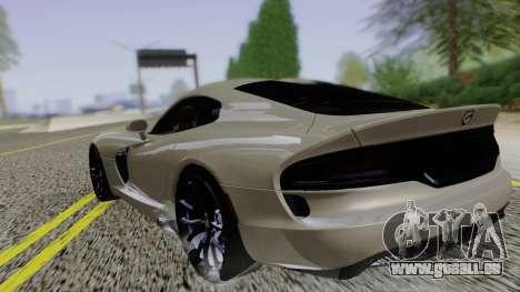 Dodge Viper SRT GTS 2013 Road version pour GTA San Andreas laissé vue
