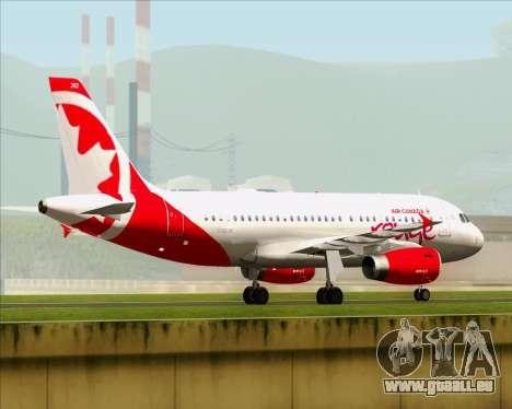 Airbus A319 Air Canada Rouge pour GTA San Andreas vue arrière