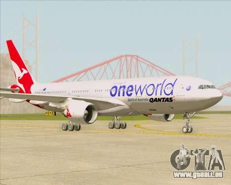 Airbus A330-200 Qantas Oneworld Livery pour GTA San Andreas sur la vue arrière gauche