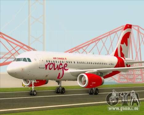 Airbus A319 Air Canada Rouge pour GTA San Andreas laissé vue