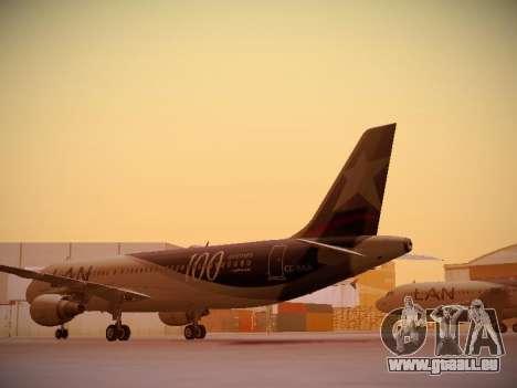 Airbus A320-214 LAN Airlines 100th Plane pour GTA San Andreas sur la vue arrière gauche
