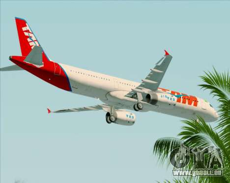 Airbus A321-200 TAM Airlines für GTA San Andreas obere Ansicht