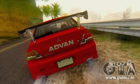 Mitsubishi Lancer Turkis Drift Advan pour GTA San Andreas vue arrière
