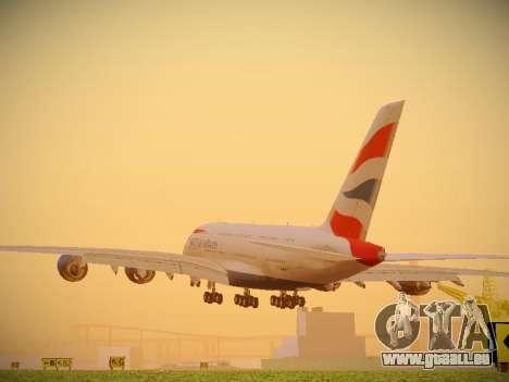 Airbus A380-800 British Airways pour GTA San Andreas sur la vue arrière gauche