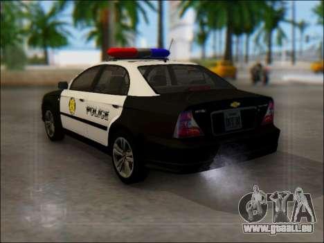 Chevrolet Evanda Police pour GTA San Andreas sur la vue arrière gauche