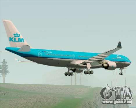 Airbus A330-300 KLM Royal Dutch Airlines pour GTA San Andreas vue arrière