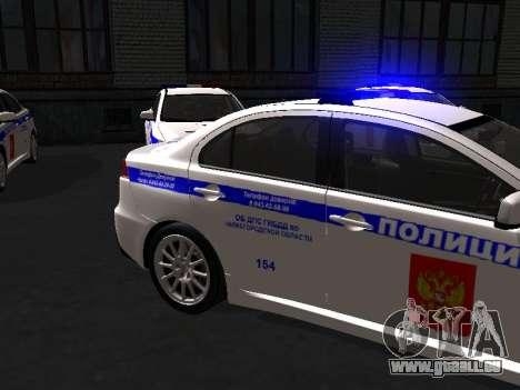 Mitsubishi Lancer DPS Région de Nijni Novgorod pour GTA San Andreas laissé vue