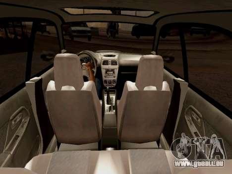 Subaru Impreza Wagon 2002 pour GTA San Andreas vue intérieure