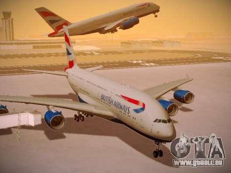 Airbus A380-800 British Airways pour GTA San Andreas vue de dessous