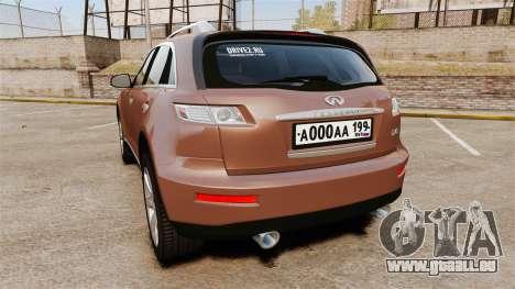 Infiniti FX 45 2008 RP pour GTA 4 Vue arrière de la gauche