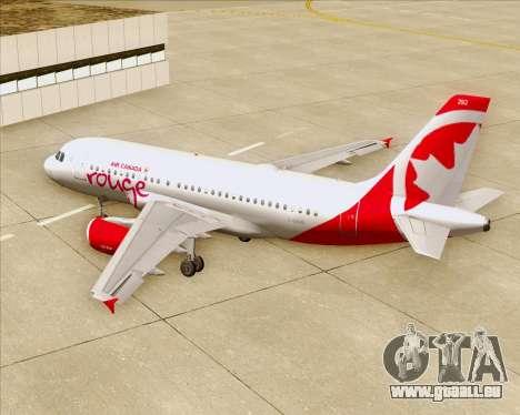 Airbus A319 Air Canada Rouge pour GTA San Andreas moteur