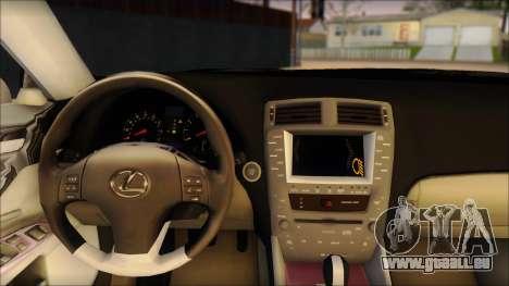 Lexus IS-F 2009 Police für GTA San Andreas zurück linke Ansicht