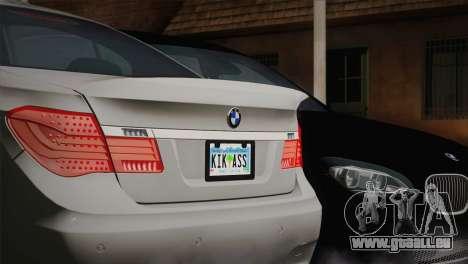 BMW F01 750Li 2009 pour GTA San Andreas sur la vue arrière gauche