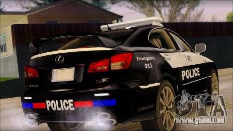 Lexus IS-F 2009 Police für GTA San Andreas linke Ansicht