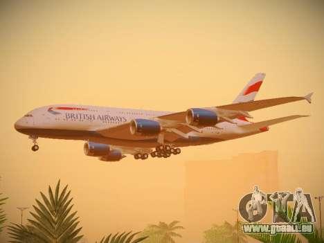 Airbus A380-800 British Airways für GTA San Andreas Rückansicht