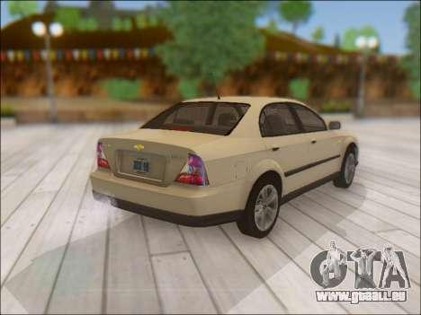 Chevrolet Evanda pour GTA San Andreas vue arrière
